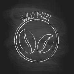 Coffee badge, emblem or label with coffee beans icon isolated on blackboard texture with chalk rubbed background. Vector illustration