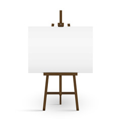 Blank canvas on a artist' easel. Blank art board and wooden easel isolated on white background. Vector illustration.