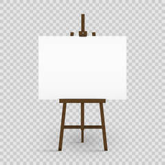 Blank canvas on a artist' easel. Blank art board and wooden easel isolated on transparent background. Vector illustration.