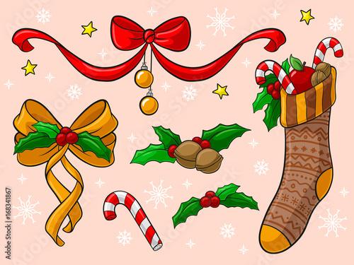 Comic Bilder Weihnachten.Weihnachten Comic Dekoration Set Vektor Stock Image And Royalty