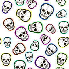 seamless pattern of colored skulls. vector illustration