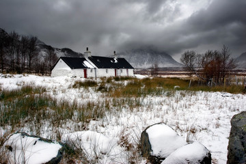 Blackrock Cottage in Glencoe, Scotland in winter.