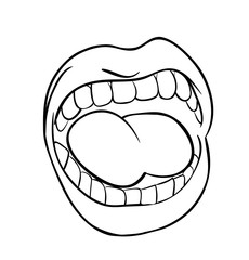 shouting lips with teeth and tongue cartoon outline vector symbol icon design. Beautiful illustration isolated on white background