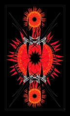 Tarot cards - back design, Devil sun