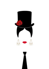 Lady with top hat, red flowers and tie , Portrait of modern Latin or Spanish woman in male version, Icon isolated, Vector illustration transparent background