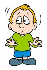 Cute Scared Cartoon Boy