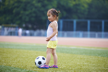 A girl playing soccer on the field