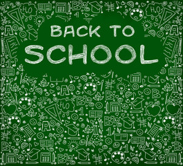 Back to school. Doodle on green school chalkboard with blank copyspace for childhood imagination and education success concept