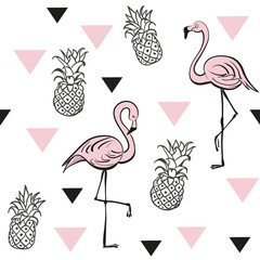 Pineapples and pink flamingos. Seamless pattern. Tropical vector print. Pop art style.