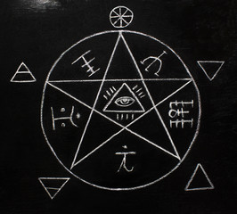 White pentagram symbol on the blackboard photo