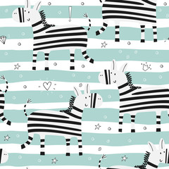 Cartoon zebra Seamless pattern
