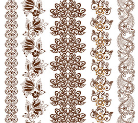Vector illustration of mehndi pattern, set of seamless borders.Set of eastern borders with paisley