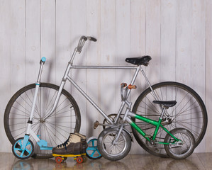Adult and children's bicycles.Family bicycles
