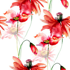Seamless wallpaper with Poppies and Gerbera flowers