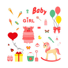 Baby icons for girls. Icon. Vector. Flat.