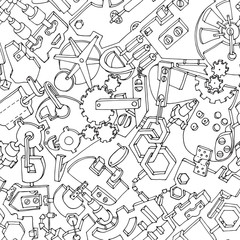 Custom blinds with your photo Seamless pattern made of various gears and technical details. Creative steampunk mechanical background. Vector illustration. Black contours on white background.