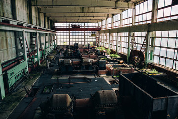 Old abandoned industrial factory interior workshop, forgotten places concept
