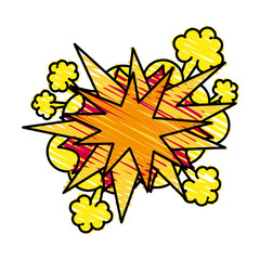 Colorful explosion cartoon doodle over white background vector illustration