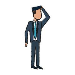 Colorful businessman doodle over white background vector illustration