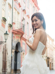 attractive asian woman wedding image in europe