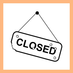 Closed sign vector old plate with bullet holes