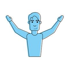 man lifting hands icon image vector illustration design  blue color