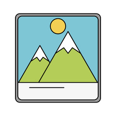 photograph with mountains and sun icon image vector illustration design