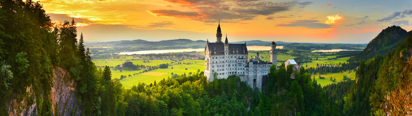 Neuschwanstein castle at sunset, Germany Wall mural