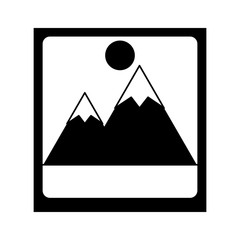 photograph with mountains and sun icon image vector illustration design  black and white