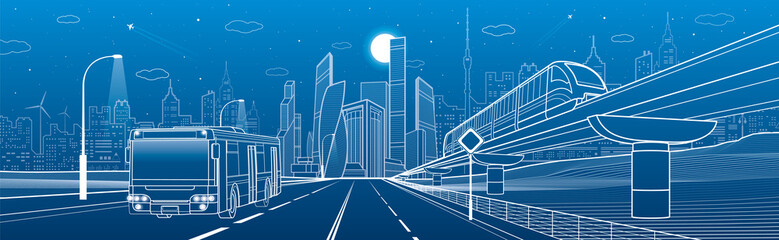 City infrastructure and transport panorama. Monorail railway. Train move over flyover. Modern night city. Airplane fly. Towers and skyscrapers. White lines on blue background, vector design art