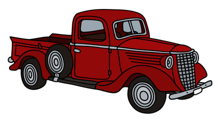 Classic red small delivery truck