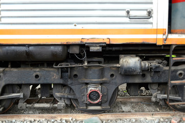Old train wheel on a track, view of the wheels of a train