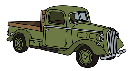 Classic green small delivery truck