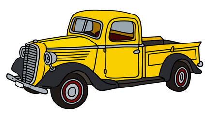 Retro yellow small delivery truck