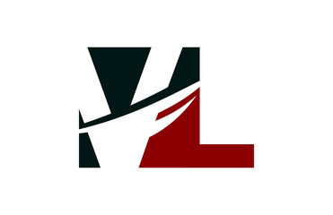 VL Red Negative Space Square Swoosh Letter Logo