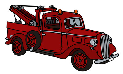 Classic red wrecking truck