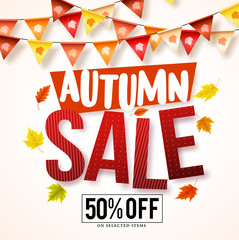 Autumn sale vector banner design with colorful hanging streamers and fall season maple leaves in white background for store marketing promotions. Vector illustration.