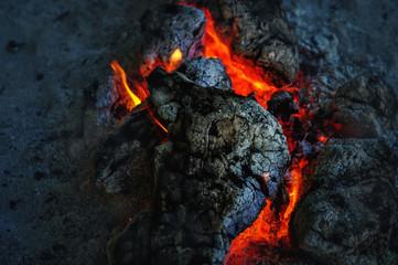 Volcano lava at night
