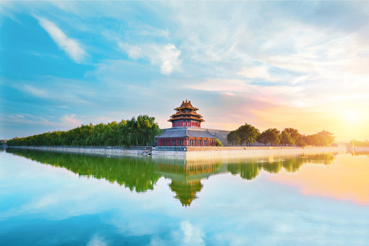 The forbidden city at sunset in Beijing,China.