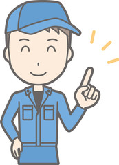 Illustration that a man wearing work clothes points with your smile with a smile