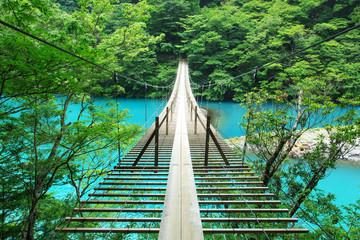 静岡、寸又峡の夢の吊り橋
