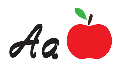 Vector apple and letter a