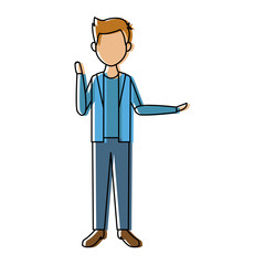 young man standing with folded arms front view vector illustration