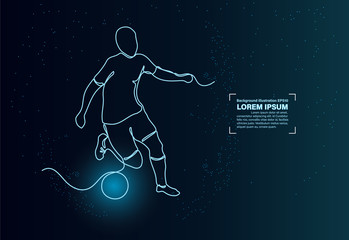 sketch single line hand drawn. football soccer blue light in the dark concept