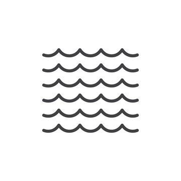 Sea waves line icon, outline vector sign, linear style pictogram isolated on white. Water symbol, logo illustration. Editable stroke. Pixel perfect vector graphics