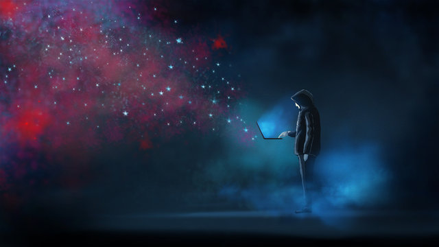 The hacker release the virus attack to online network. illustration digital painting artwork.