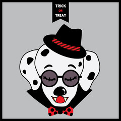 Happy Halloween poster design with Portrait of dalmatian dog having vampire fangs put on hipster hat, sunglasses with bow tie and cape on gray background.