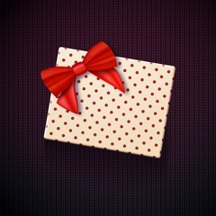 Illustration of Vector Gift Box with Red Ribbon. Realistic Vector Present in Gift Packaging. Greeting Card Template