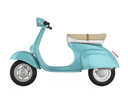 Vintage Retro Scooter Isolated