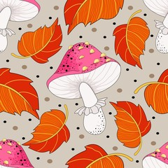 Seamless pattern with mushrooms and autumn leaves. Mushrooms. Vector illustration.